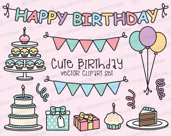 Premium Vector Clipart Kawaii Birthday Cute Birthday Party
