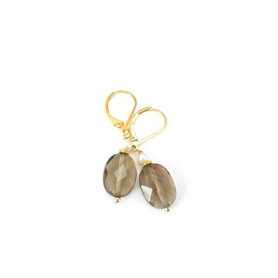 Pearl Smokey Topaz Dangle Earrings
