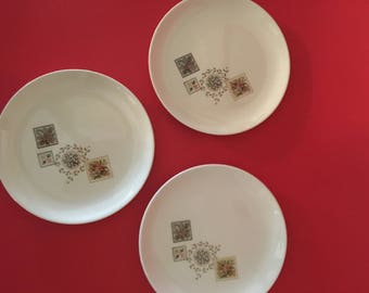Set of 3 Brocatelle Ever You Bread and Butter Plates, Tree and Fruit Baskets on plates, Taylor, Smith & Taylor Company Ceramic plates