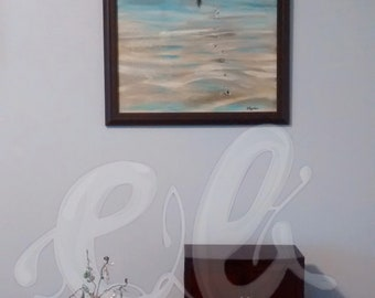 """PRINT (Unframed)- New Zealand 90 mile beach, silhouette footprints, 16""""x20"""", LOTR quote"""