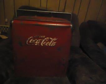 Vintage 1950's Coca Cola Cooler With Handle, NEEDS RESTORATION, collectable