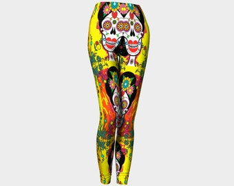 Funky Day Of The Dead Sugar Skull Printed Leggings - Fashionable - Quirky - Unique, - Yellow - Yoga - Workout