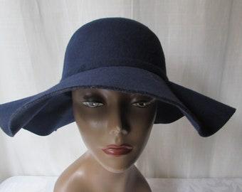 Floppy Hat Blue Felt designer Hollywood Chic