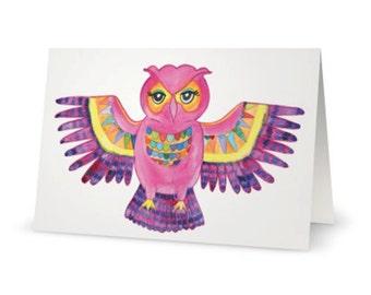 Boho Free Spirit Owl Bohemian Folk Art Whimsical Greeting Card