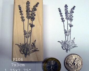 P106 Large lavender rubber stamp