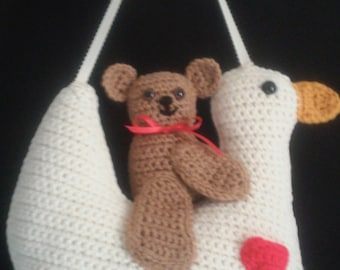 Hanging Goose with Heart and Bear Pillow