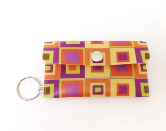 MOO Business Card Holder Card Case - Retro Squares in Orange Yellow and Purple