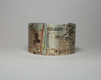Cuff Bracelet Columbus Ohio Map Hometown City Unique Gift for Men or Women