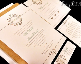 Flourish Monogram Custom Unique Wedding Invitation Initial Date Spring Summer Fall Winter Damask Kraft Garden Simple Flower Elegant Fresh