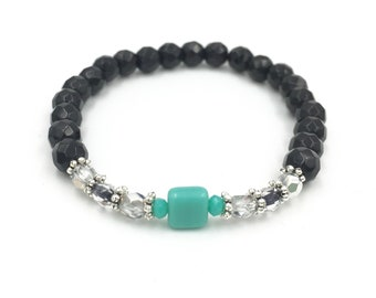 Faceted black and pearl bracelet turquoise square
