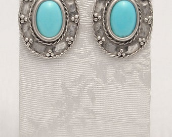 Byzantine Earrings, handmade earrings in Sterling Silver with turquoise, Sterling silver earrings, Greek Jewelry, handmade earrings
