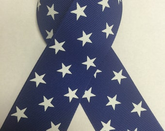 """1-1/2"""" Dark Royal Blue Grosgrain Ribbon with White Stars - Schiff - Made in USA - 4th of July - America"""