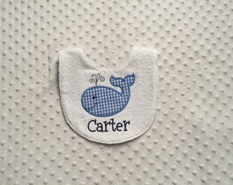 Baby Boy Personalized  Bib, Smiling Whale Applique Personalized with Child's Name