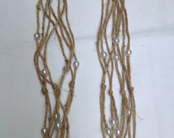 Macrame' Plant Hangers Indoor/Outdoor Wedding Decor~ Rustic Pearl