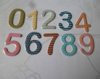 x 1 set of 10 digits 3D 0-9 multicolored pattern craft 2.8 cm