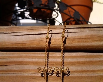 Dainty Golden Dragonfly Hanging Earrings