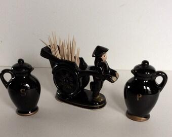 Vintage Salt & Pepper Shakers / Toothpick Holder / Match Holder / Japanese Fiqurine / Black Salt and Pepper Set