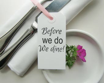 Wedding Rehearsal Dinner Decorations-Rehearsal Dinner Ideas-Before We Do We Dine-Classic White Tags-Rehearsal Table Decor-Wedding Rehearsal