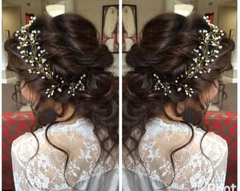 Sample Sale - Bridal Halo // Hair vine // Pearls and Glassbeads Headpiece // Hair Acessory // Wedding Hair Jewelry