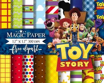 "Toy Story Digital Paper : ""TOY STORY Digital Paper""- Toy Story ClipArt, Toy Story Digital Scrapbook Paper, Toy Story Clipart"