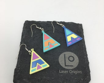 Geometric Teepee Statement Earrings. Pastel. Acrylic. Fashionable. Gift for her.