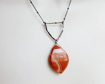 Oxidized Sterling silver Geometric necklace with burnt orange color sardonix gemstone bead. satellite chain, sardonix necklace,