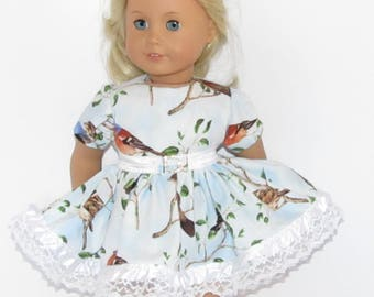 """Blue Bird Dress with Lace and Belt Made to Fit Dolls Like Gotz or American Girl Doll Clothes 18"""""""