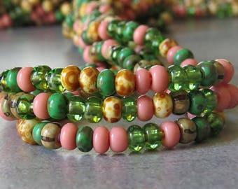 6/0 Pink Garden Mix Czech Glass Picasso Seed Bead Mix : 1 Ten inch Strand