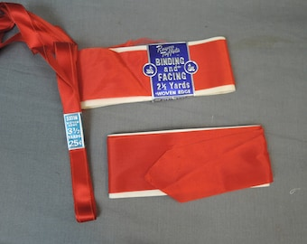 Lot of Vintage Red Ribbon & Binding Facing, Rayon Taffeta and Satin, in packs