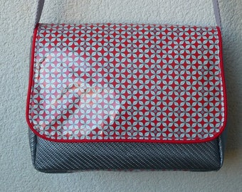Silver and Red Messenger bag