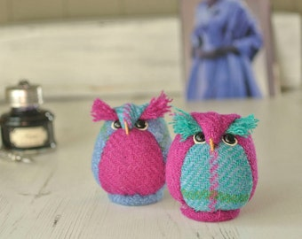 Harris Tweed Fabric Owls, Turquoise, Cerise,Ornaments,Soft Sculture