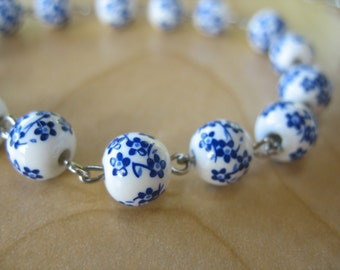 Ceramic Blue and White Flowers Bead Bracelet and Earrings