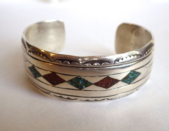STERLING NAVAJO CUFF Bracelet ~ Signed by Charlie Bowie ~ Sterling Silver ~ Turquoise and Coral Inlay ~ Vintage ~ 1950s ~ Marked C B Navajo