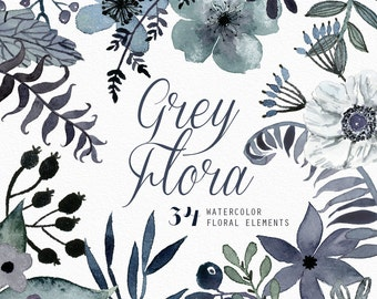 Grey Flora 34 Watercolor Elements, hand painted clipart, floral wedding invite, greeting card, diy clip art, flowers, free commercial use