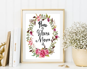 gifts for mom ,Mother's day print ,Home is where mom is print wall art decor printable mother day quote printable mothers day gifts