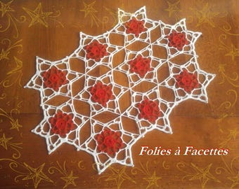 For Christmas, white and red stars crochet doily