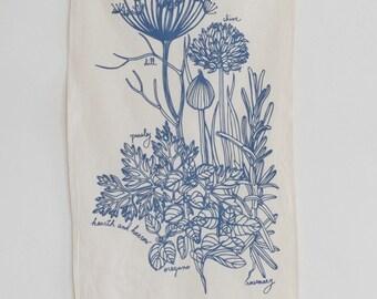 Tea Towel - Organic Cotton - Kitchen Herbs - Screen Printed - Unpaper Towel - Eco Friendly Kitchen Towels - Flour Sack Towel - Botanical