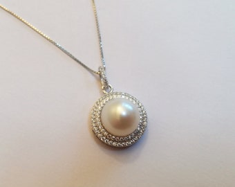 10-11mm Genuine AAAAA Freshwater Pearl with Sterling Silver S925 Pendant Necklace, Natural Freshwater White Pearl, Bridal necklace