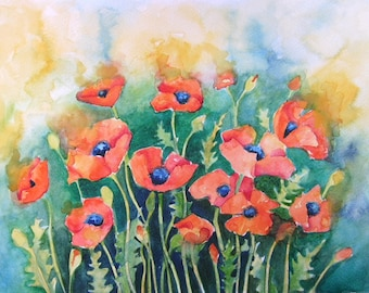 Dancing Poppies A4 Fine Art Photo Print