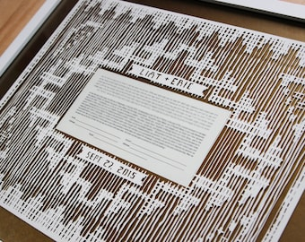 Customized papercut ketubah / wedding vows (framed): Navajo weaving