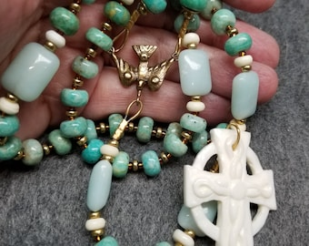 Russian Amazonite Rosary  with Carved Bone Celtic Cross  Handmade Catholic Gift HeartFelt Rosaries