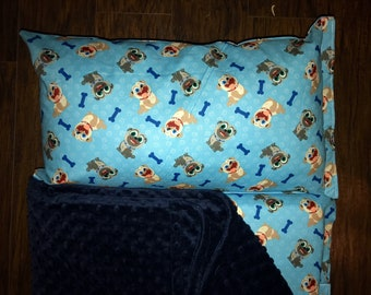 """Preschool Nap Mat in Puppy Dog Pals with Pillow, Minky Blanket and 1"""" memory foam"""