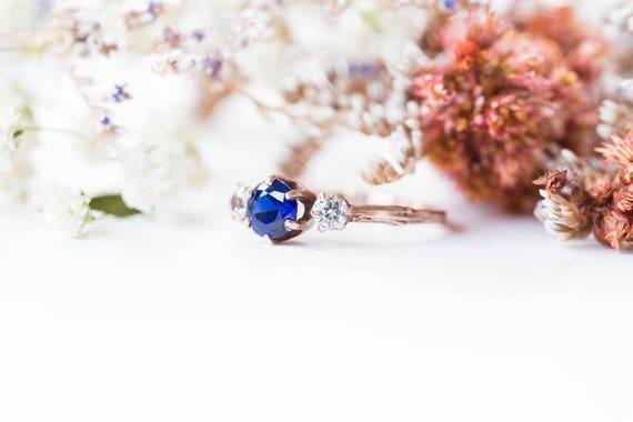 Three stone blue sapphire 14k gold twig engagement ring, three stone engagement ring, gold twig ring, chatham blue sapphire engagement ring