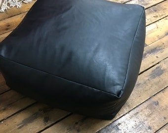 Moroccan black leather pouf -soft and shiny