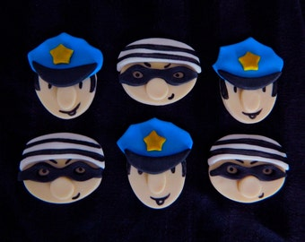One Dozen Fondant Cupcake Toppers - Cops and Robbers