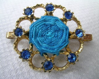 Blue Web: a gorgeous unique vintage upcycled hand embroidered gold coloured metal assemblage brooch