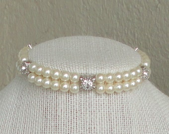 ON SALE PickYour COLOR BRIDESmaid Gift Two Strand Pearl & RHINEstone Mother Of Bride WEDDing Maid Of Honor Bridal Bracelet By DYEnamite