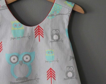 new owl pinafore top  ready to ship grey gray red aqua (only 1 left)