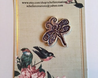 Handmade Ceramic Dragonfly Button
