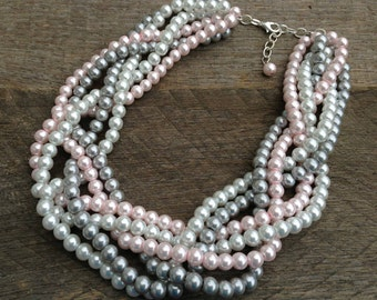 Pink Grey Pearl Statement Necklace, Multi Strand Wedding Necklace, Chunky Braided Necklace on Silver Chain